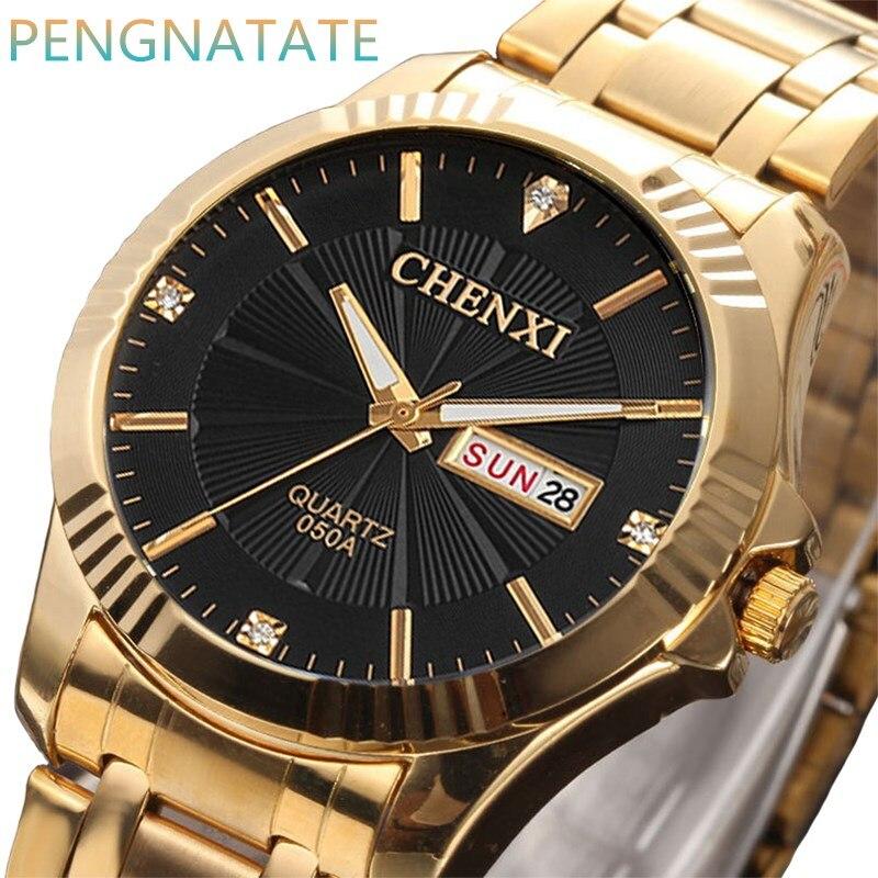 CHENXI Montre En Or Hommes Montre-Bracelet Top Marque De Luxe Célèbre Mâle Horloge D'or Quartz Calendrier Complet Relogio Masculino PENGNATATE