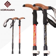 NEW Outdoor carbon super light sticks hiking old man cane telescopic sticks inside and outside lock T handle Cork walking stick new outdoor aluminum alloy sticks adjustable telescopic outside lock t handle mountain walking stick super light old man cane