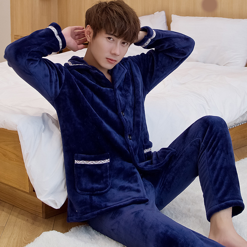 Plus Size XXXL Autumn Winter Warm   Pajamas     Set   Flannel 2PCS Sleepwear Turn-Down Collar Nightwear Long Sleeve Home Clothes