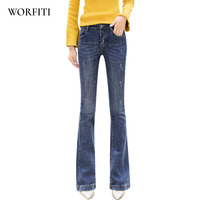 Boot Cut Pant Flare Jeans Women's Boot Cut Jeans Fashion Lengthen Denim Pants Elastic Trouser Black Blue sexy slim jeans