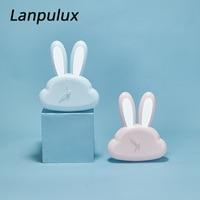 Lanpulux Motion Sensor Lamp Children Kids Pink Rabbit Night Lights Multifunction Clock Light Fixtures Lovely Girl Friend Gifts