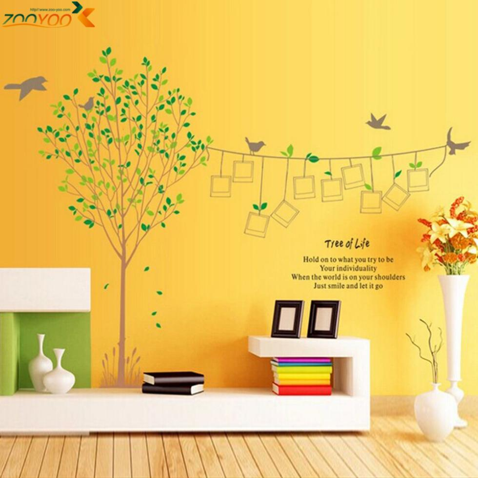 Photo Frame Family Tree Birds Quote Removable Wall Sticker Decals ...