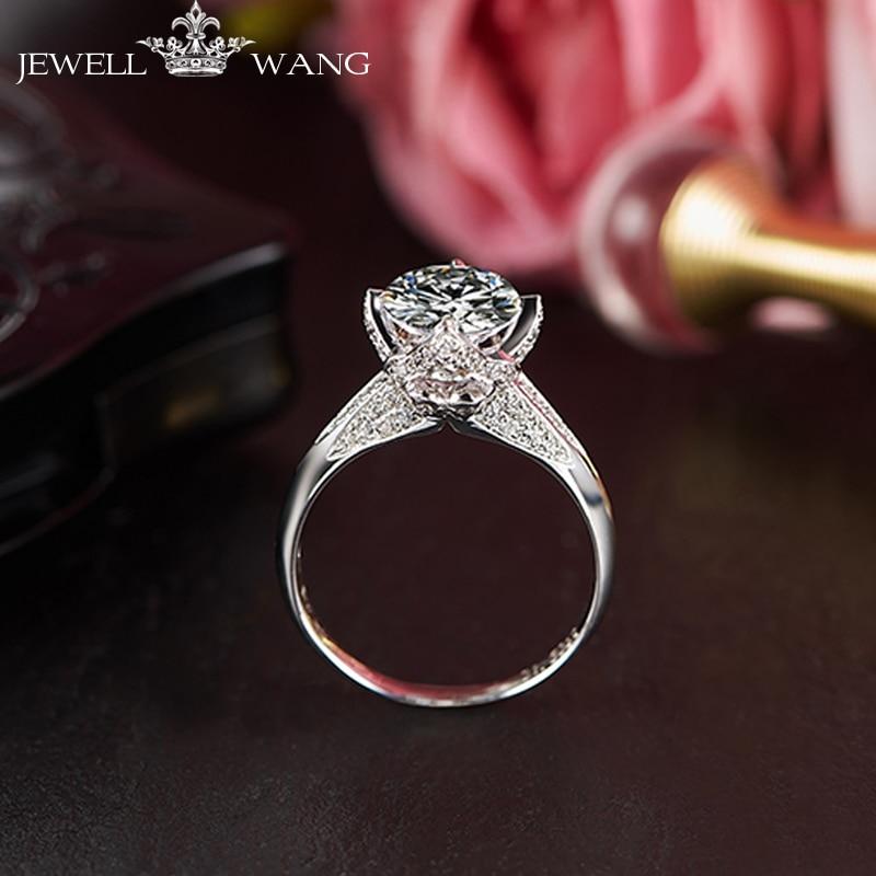 Jewellwang Moissanite Rings for Women Luxury Diamond Side Stone 1.0ct Certified vvs1 Forever Engagement Rings 18K White Gold
