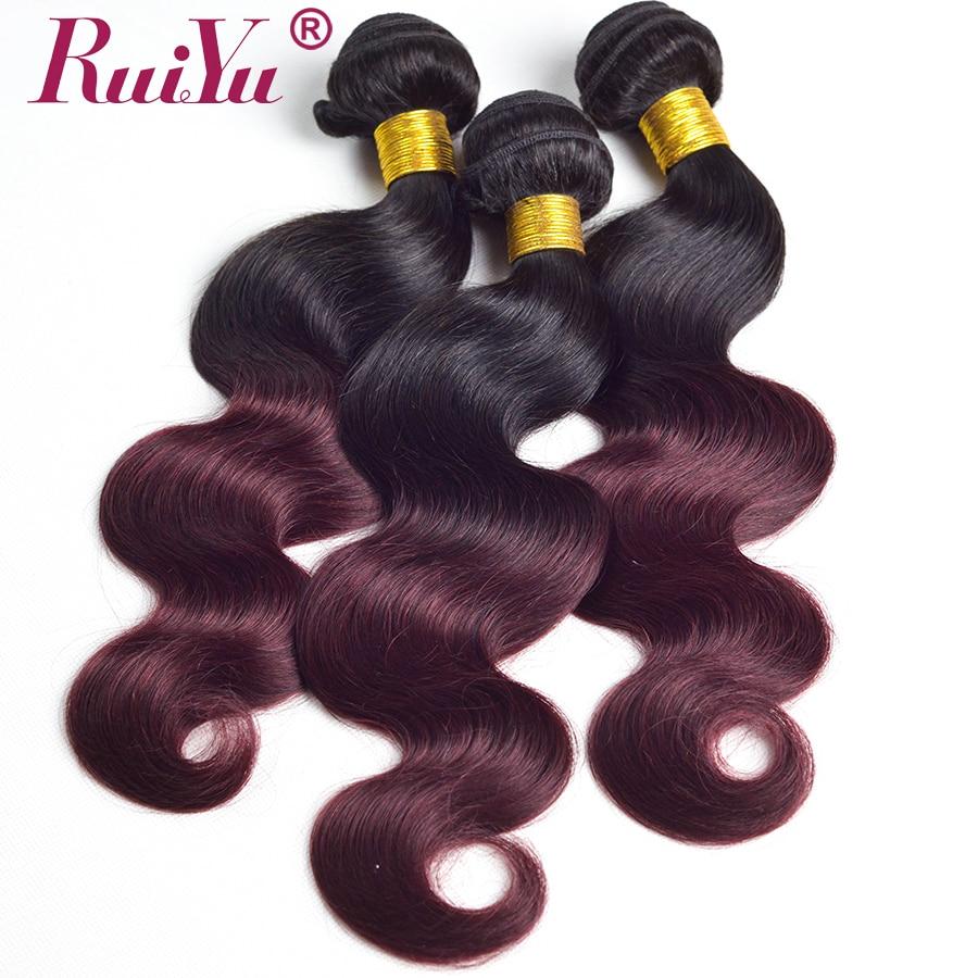 Flokët RUIYU Ombre Paketat e Flokëve Brazilianë të Valës së - Flokët e njeriut (të zeza) - Foto 3