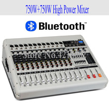 Pro High Power 750W+750W 12 Channel Bluetooth Mixer with Amplifier Conference Room Karaoke USB Microphone Mixer System