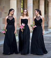Elegant Wedding Bridemaid Dresses Black Long Floral Chiffon Party Gown Country Dress Wedding Backless 2016 Wedding Maid of Honor