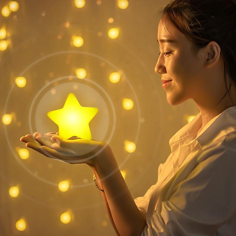 Lampe à douille avec contrôle du capteur lumineux, Mini étoile lampe murale décorative pour enfants lampes de nuit contrôleurs déclairage