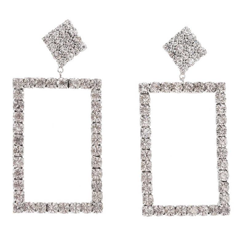 Bruid Geschenken Extendy Vierkante Kristal Stud Oorbellen Voor Vrouw Nieuwe Vintage Grote Luxe Oorbellen Sieraden Brincos Overdreven