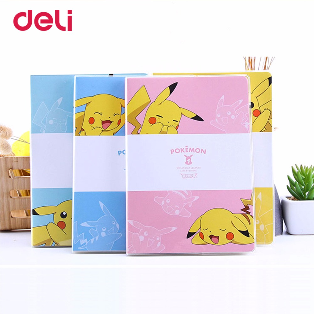 Deli Pokemon Cute Waterproof PVC Cover Notebook Pikachu Journal Plan Kawaii Notebook School Office Supplies Stationery Hot Sell