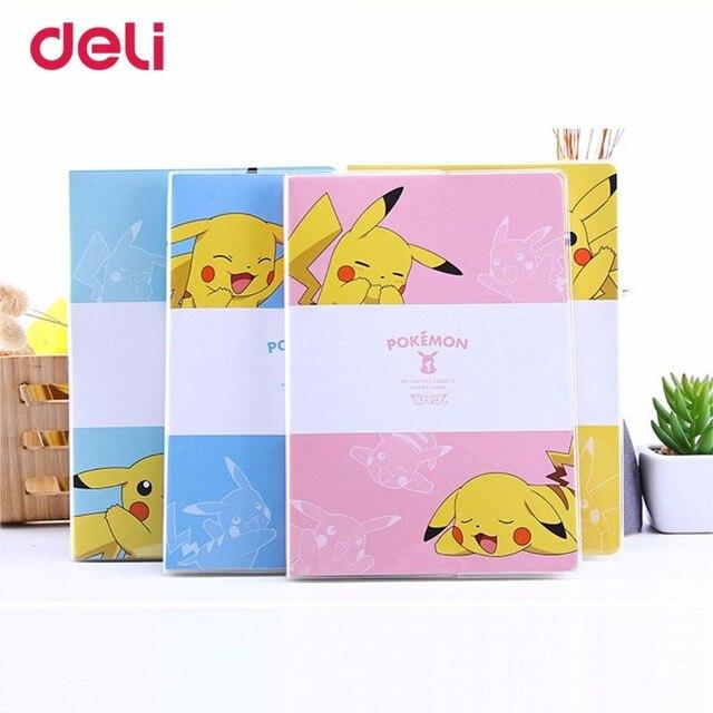Deli Pokemon Cute Waterproof Pvc Cover Notebook Pikachu Journal Plan Kawaii School Office Supplies Stationery