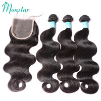 Monstar Brazilian Remy Hair Body Wave with Closure 30 Inch Human Hair Weave Weft Brazilian Wavy Hair 2/3/4 Bundle with Closure