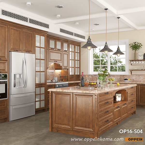 Red Oak Kitchen Cabinets Modern Rural Red Oak Kitchen Cabinet kitchen Furniture OP16 S04-in Kitchen  Cabinets from Home Improvement on Aliexpress.com | Alibaba Group