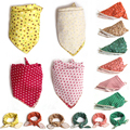 Multifuction Grid Baby Girls Boys Saliva Towel Double Color Triangle Fashion Headband Scarf Baby Bibs