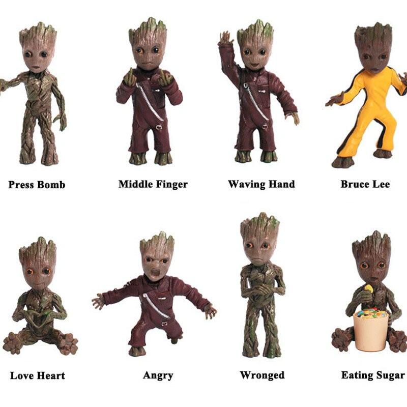 New Cute Baby Grunt Tree Man Guardians of Galaxy Vol 2 Man Figuras Brinquedos Keychain Key Bag Pendants Dolls Toys Gift 7.5cm(China)