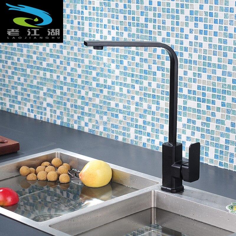 Robinet rotatif noir peinture en aérosol évier robinet cuisine évier carré plat Tube chaud et froid mixte Rotation de l'eau
