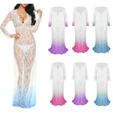 S-4XL deep v  neck lace sheer dress lady spring autumn tight long sleeve dress night evening party maxi dress plus size tight lace fitted maxi prom evening dress