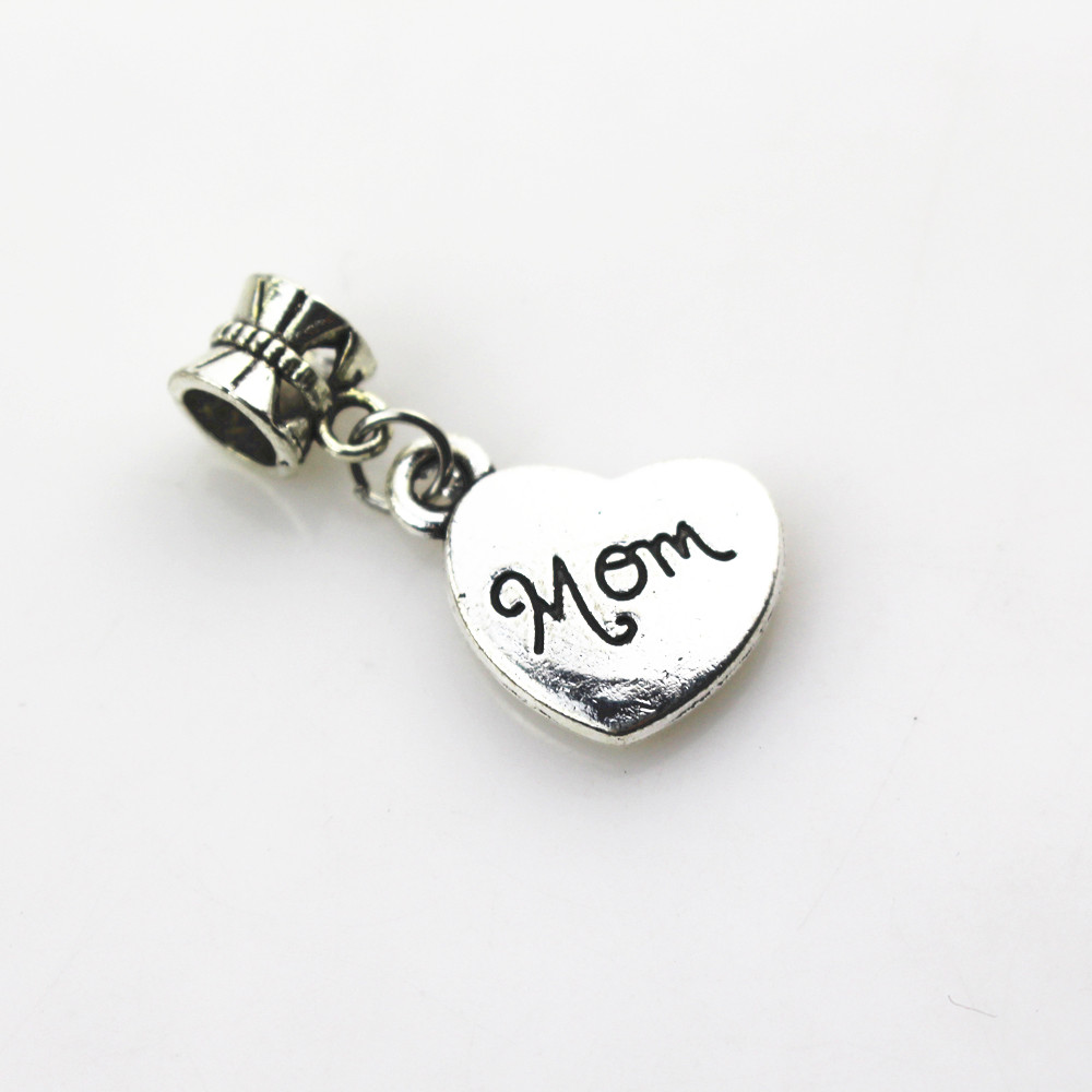 20pcs/lot Heart Mom Charms Dangle Hanging Charms big hole Beads European pendant fit pandor charms bracelet DIY jewelry