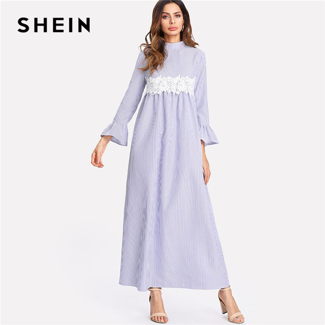 fd81ac5119 SHEIN Lace Embellished Waist Striped Maxi Dress Women Blue Stand Collar Long  Sleeve Ruffle Shift Dress