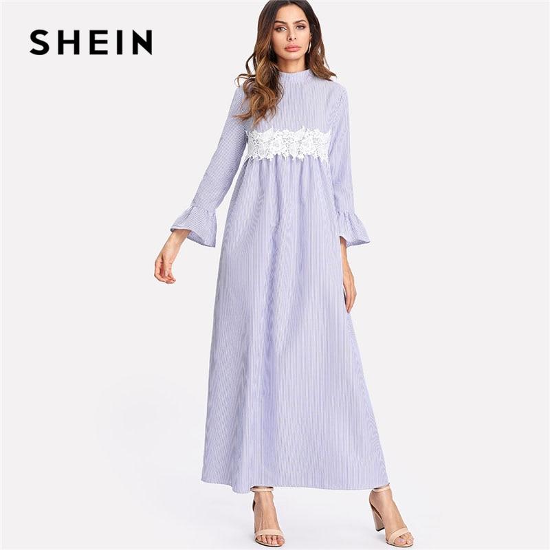 SHEIN Lace Embellished Waist Striped Maxi Dress Women Blue Stand Collar Long Sleeve Ruffle Shift Dress 2018 Spring Casual Dress