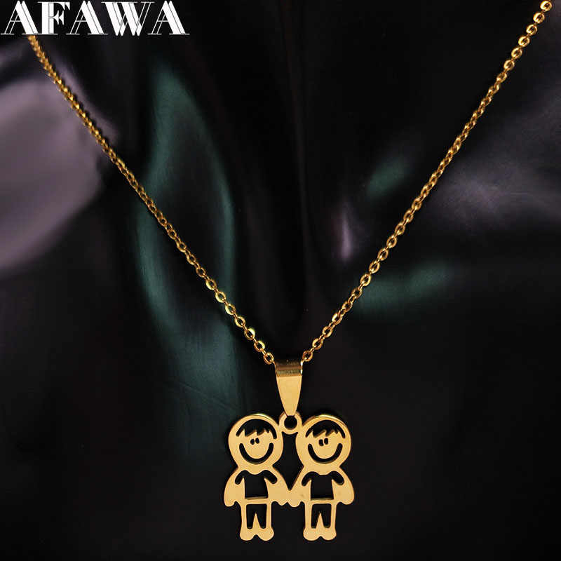 2019 Fashion Two Boys Stainless Steel Chain Necklace Women Family Gold Color Necklaces Jewelry acero inoxidable joyeria N18351
