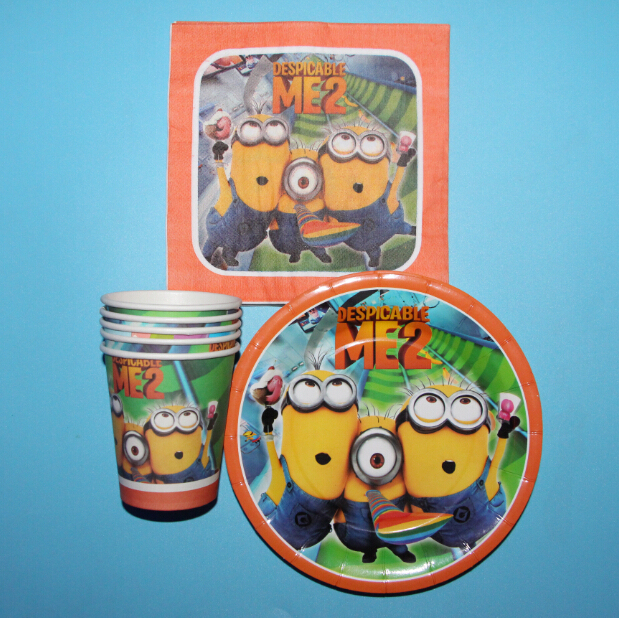 60pcs Minions Printed Plate Cup & Napkin for Children Parties