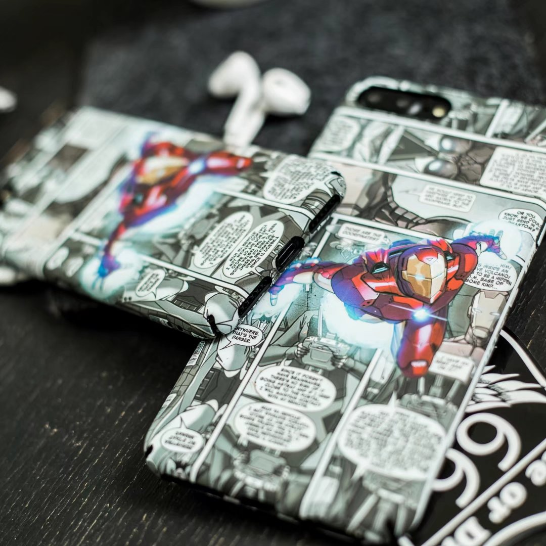 Luminous Marvel Phone cover case For iphone X XS MAX XR 10 8 7 6 6S plus 5 5S SE cases Matte hard plastic cover Spiderman Batman in Fitted Cases from Cellphones Telecommunications