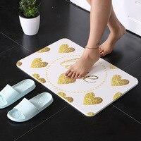 Black gold Heart Diatom Mud Quick Dry Bath Mat, For Kitchen/Bathroom/Balcony/Sink, Non Slip Floor Food Pad Water Absorbing