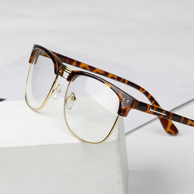 unisex hipster vintage retro classic half frame glasses clear lens