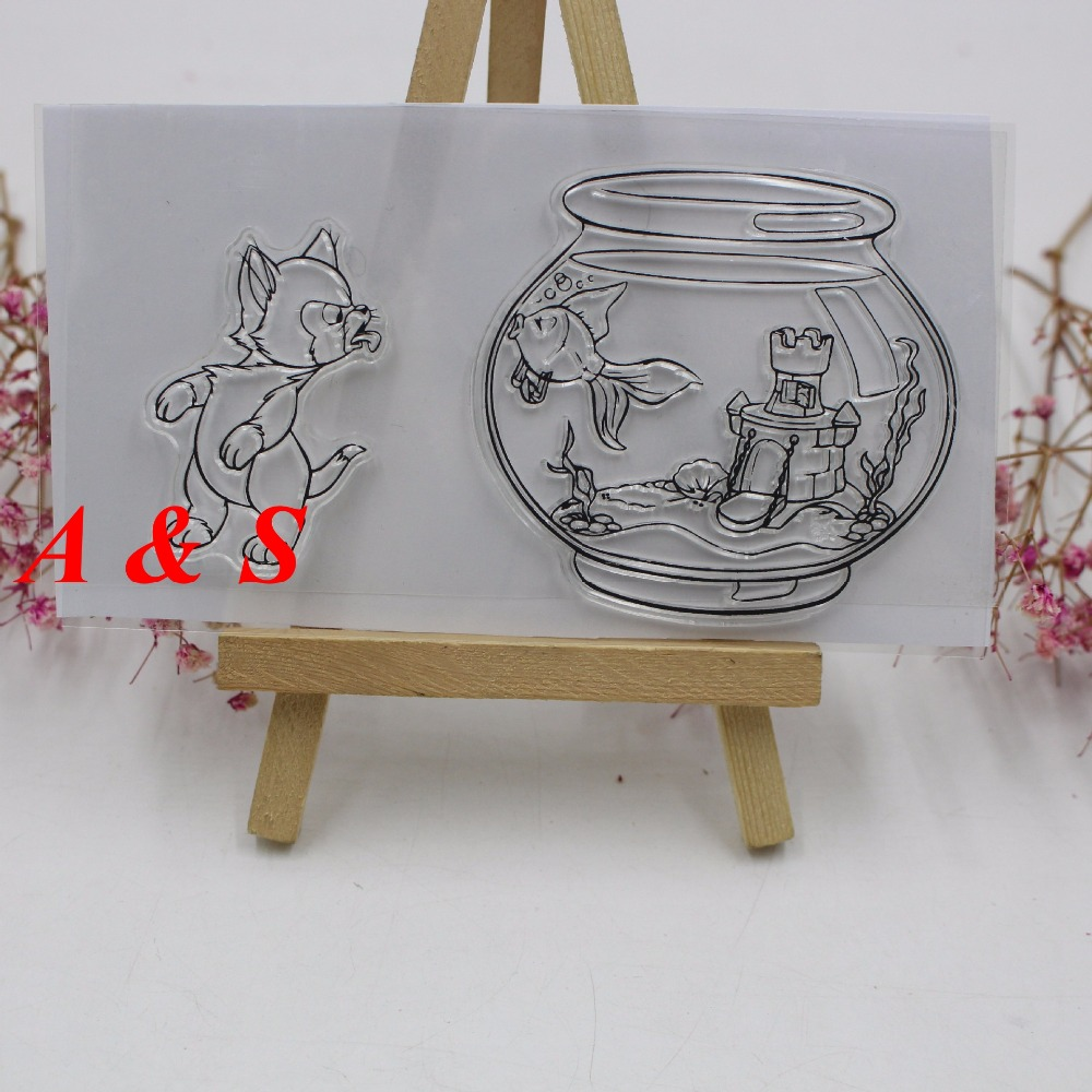 Cat And Fish Transparent Clear Stamp DIY Silicone Seals Scrapbooking/Card Making/Photo Album Decoration lovely bear and star design clear transparent stamp rubber stamp for diy scrapbooking paper card photo album decor rm 037
