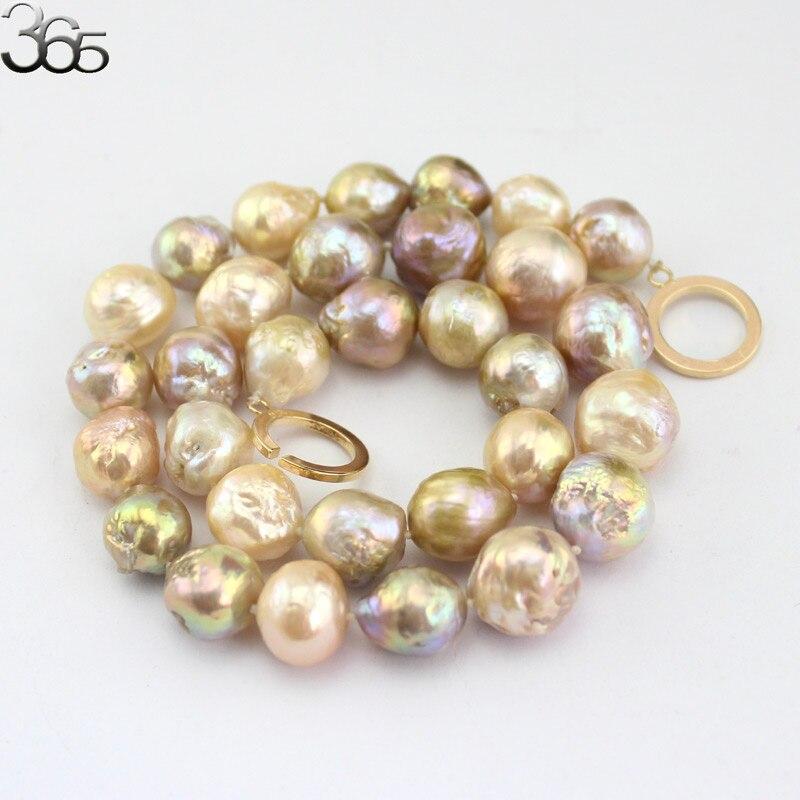 Livraison gratuite 10-12mm coloré véritable naturel eau douce Edison Reborn rond grande perle perle or rempli fermoir collier 18 pouces - 5