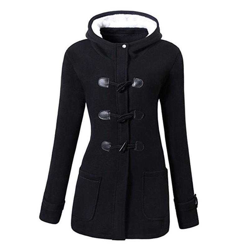 Women Jackets Outwears Overcoats Hooded Female Black Gothic Plus-Size Winter Ladies Slim