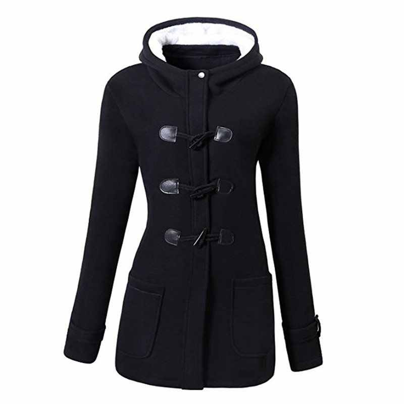 Casual Plus Size Winter Warm Black Gothic Women Jackets Slim Overcoats Hooded Office Ladies Zipper Pocket Female Outwears 2019