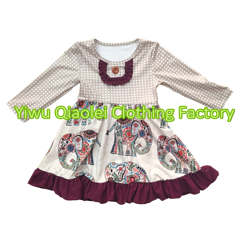 Wholesale baby girl dress spring summer elephant dress fancy baby frocks desgin girl dress