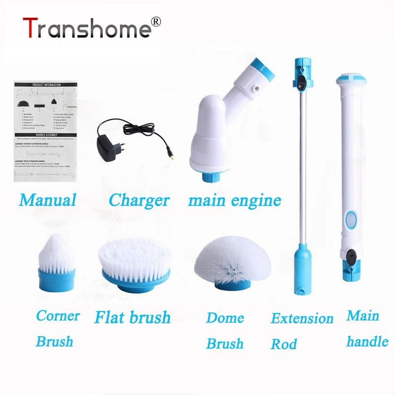 Transhome többfunkciós elektromos kefék Vezeték nélküli töltés Elektromos hosszú fogantyú tisztító kefe Háztartási tisztítóeszközök