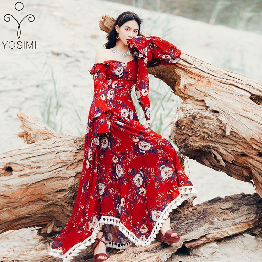 e53ece585cd YOSIMI 2019 вечернее платье лето с круглым вырезом короткий рукав  элегантный А-силуэт макси длинные
