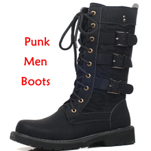 Military Men Boots 2019 Punk Work boots riding boots Cowboy boots Metal Gothic riding boots Male Shoes Motorcycle Knight boots все цены