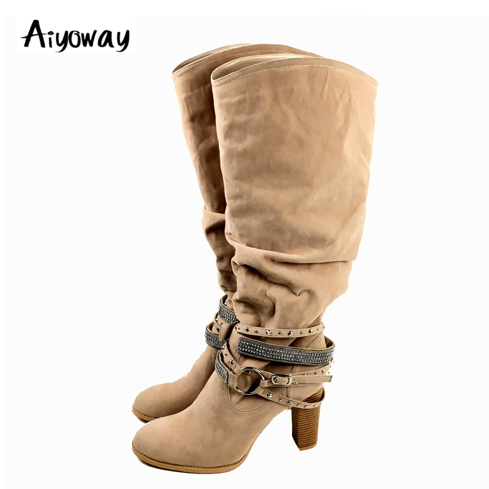 Aiyoway Fashion Women Ladies Round Toe High Heel Knee Boots Block Heel Ankle Crystal & Studs Decorated Black Beige Faux Suede stylish leaf shape faux crystal decorated anklet for women