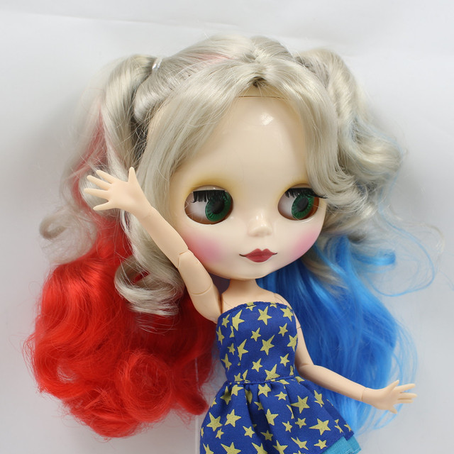 TBL Neo Blythe Doll Red Blue Grey Hair Jointed Body