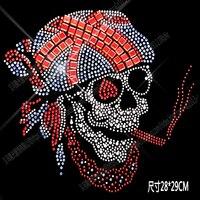 Grande taille crâne motif strass fix fer sur Strass transfert de chaleur perles patch applique vêtements sac décoration correctifs