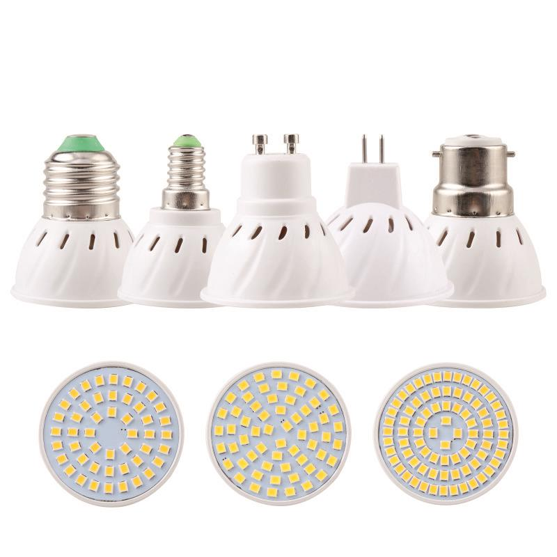 Bright E27 E14 MR16 GU10 B22 Lampada LED Bulb 220V 110V Bombillas LED Lamp Spotlight 48 60 80 LED 2835SMD Lampara Spot Light new e27 gu10 rgb led bulb light bombillas 4w 16 color change mr16 e14 led lamp spotlight lampada with remote controller dimmable