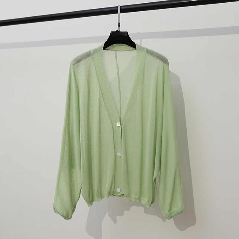 Вязаный Кардиган Куртка женская тонкая весна лето короткая Мода Джокер Кондиционер рубашка лед шелк большой размер пальто свитер свободный