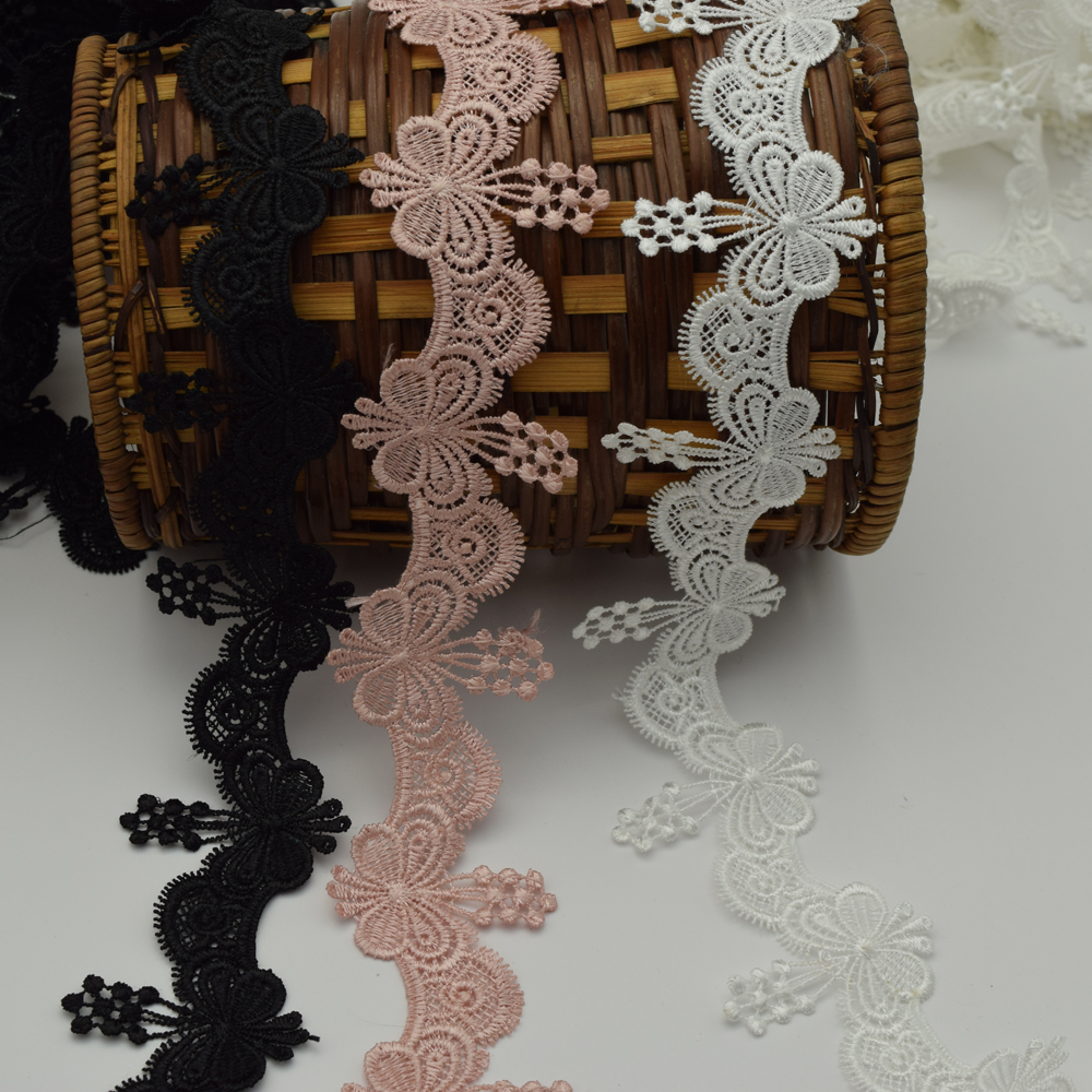 Hot sales 14yards white ,black rubber Red Butterfly Venise Lace trim 4.5cm Craft sewing.