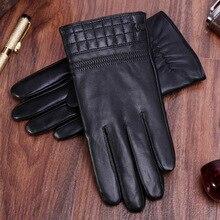 Men Black Genuine Leather Gloves Winter Thickening Plus Velvet Driving Touchscreen Goat GR-1810-5