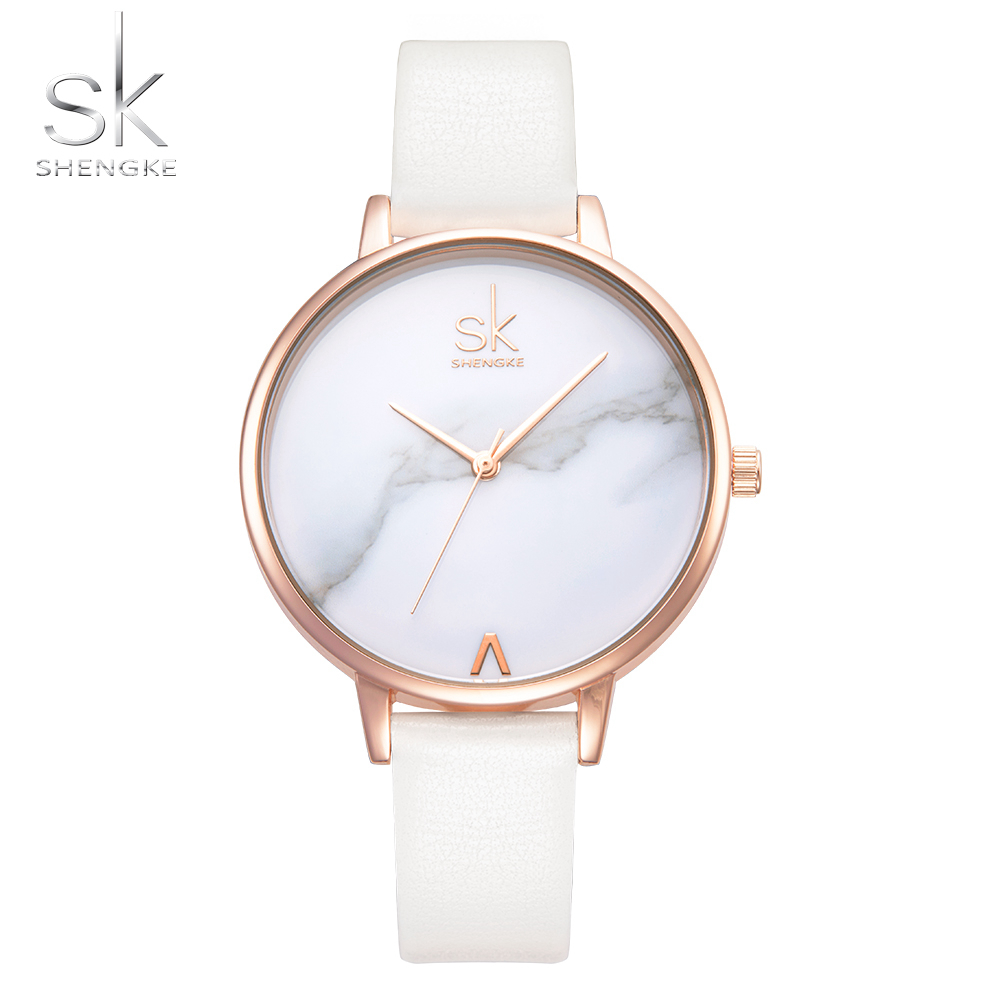 SK Watch Brand Fashion Ladies Watches SHENGKE Marble Dial Leather Female Quartz Watch Women Thin Casual Watch Reloj Mujer 2019