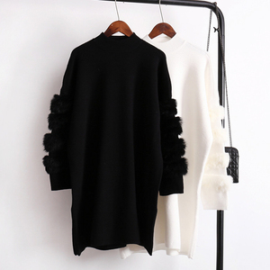Image 2 - Twotwinstyle inverno pullovers de malha camisola feminina para as mulheres topo manga longa solta tamanho grande grosso quente camisolas jumper roupas