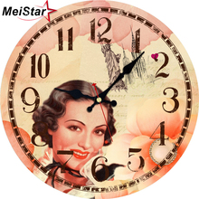 MEISTAR Vintage Clocks British style  Design Silent Elegant Living Office Room Home Decor Watches Wall