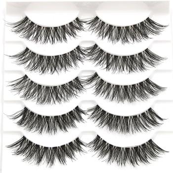 YOKPN 5Pairs Handmade Plastic Transparent False Eyelashes Cross Soft Natural Long Lashes Performance Makeup Thick Fake Eyelashes