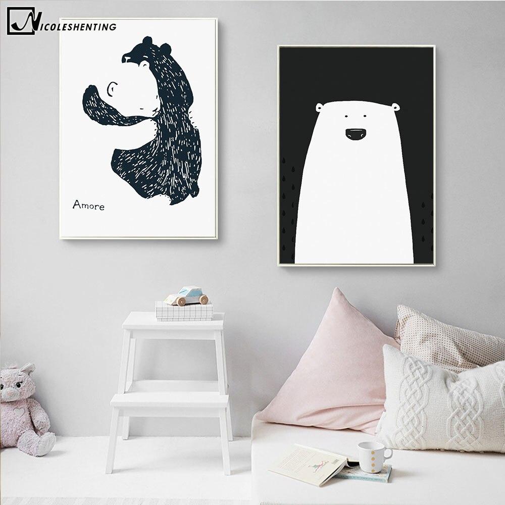 Cartoon Polar Bear Animal Nordic Art Canvas Poster Impresión - Decoración del hogar - foto 4