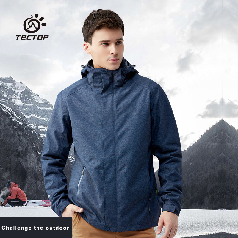 TECTOP Men Two-Piece Outdoor Jacket Fleece Liner Removable Windproof Waterproof Autumn Winter Jacket JW7967A free shipping 2016 laynos men spring autumn winter outdoor waterproof ski wear triad velvet two piece fleece jackets 150a263b