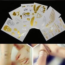 10pc Small Flash Metallic Tattoo Waterproof Temporary Gold Silver Tatoo Women Henna Star Taty Design Sticker Random Style
